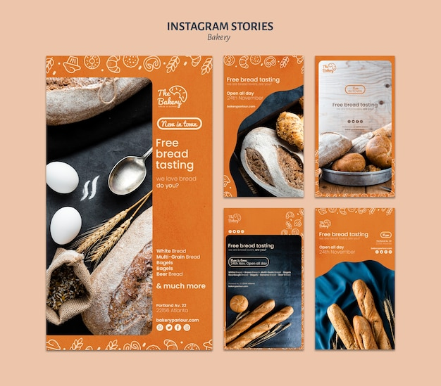 Instagram stories template for bakery company