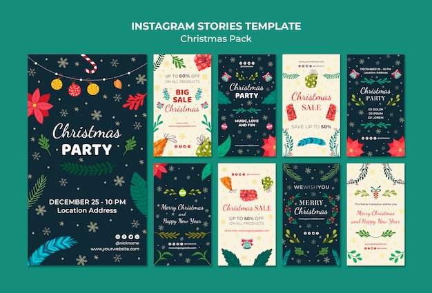 Instagram stories template christmas pack