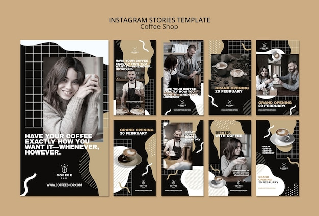 Instagram stories template concept for coffee shop
