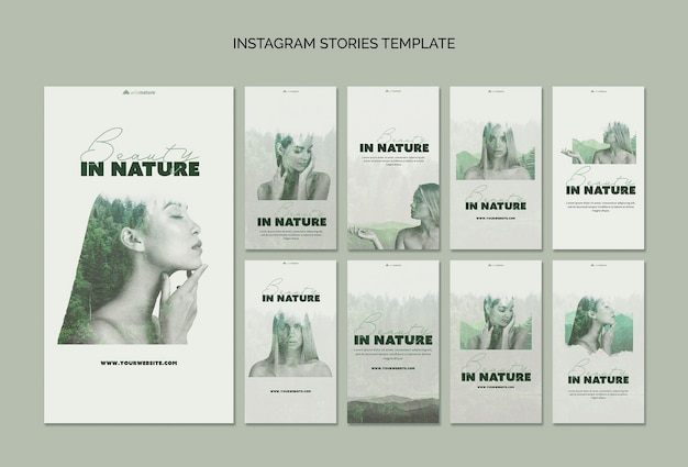 Instagram stories template concept with wild nature