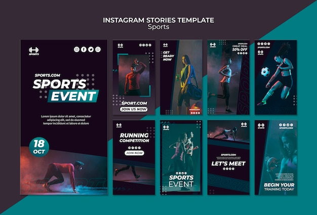 Шаблон instagram-историй для спортивного мероприятия