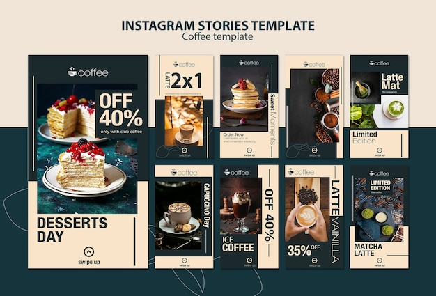 Instagram stories template theme with coffee