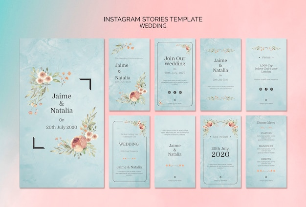 Instagram stories template wedding invitation