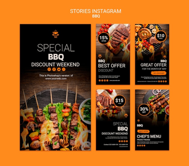 Instagram stories template with bbq
