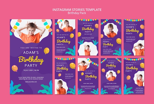 Instagram stories template with birthday party