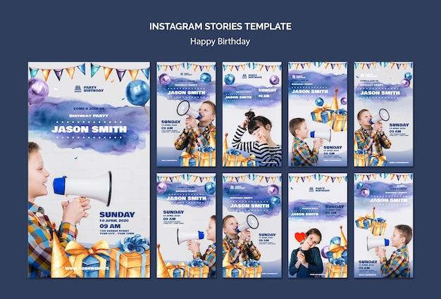 Instagram stories template with birthdday party