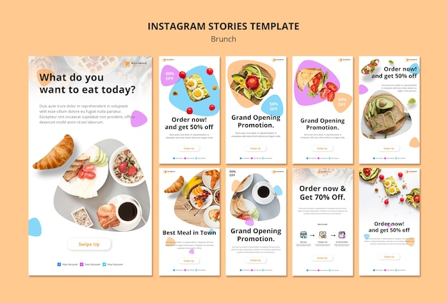 Instagram stories template with brunch concept