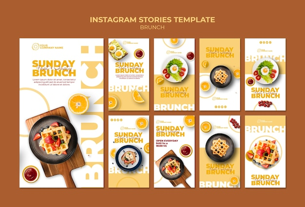 Instagram stories template with brunch theme