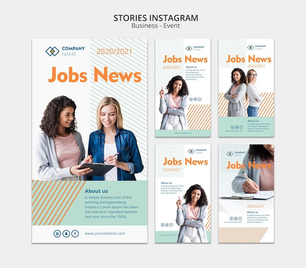 Instagram stories template with buisness woman