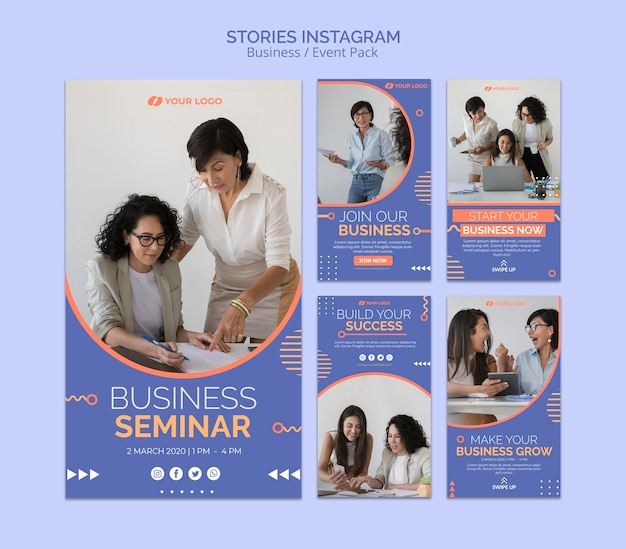 Instagram stories template with business event concept