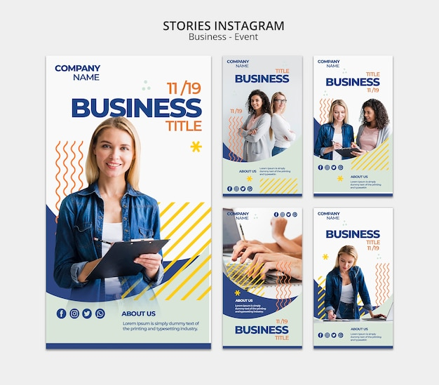 Instagram stories template with business woman concept