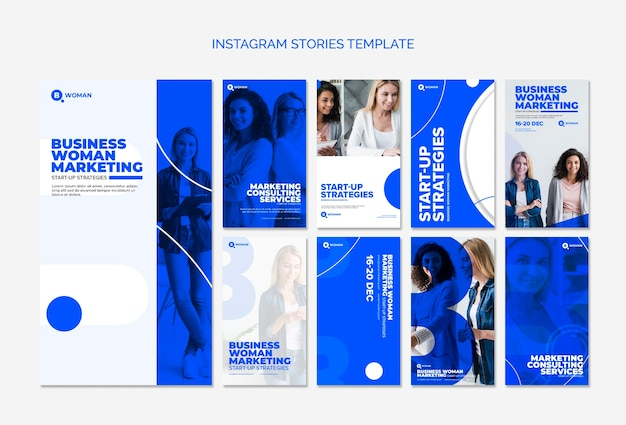 Instagram stories template with business woman