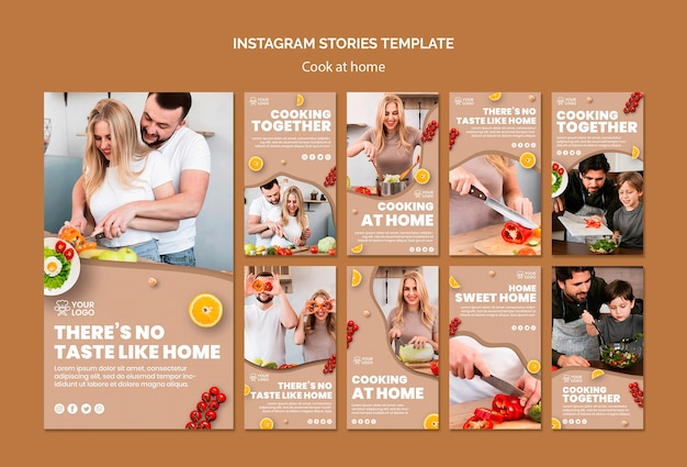 Instagram stories template with cooking