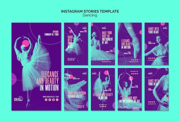 Instagram stories template with dancing theme