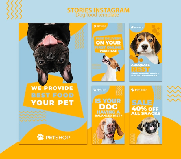 Instagram stories template with dog food