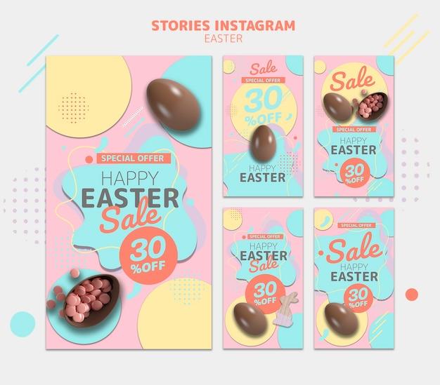 Modello di storie di instagram con la vendita del giorno di pasqua