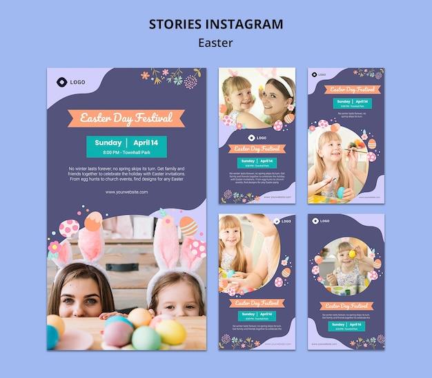 Modello di storie di instagram con il giorno di pasqua
