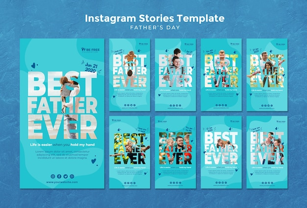 Instagram stories template with fathers day