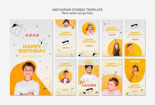 Instagram stories template with happy birthday