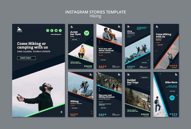 Instagram stories template with hiking theme