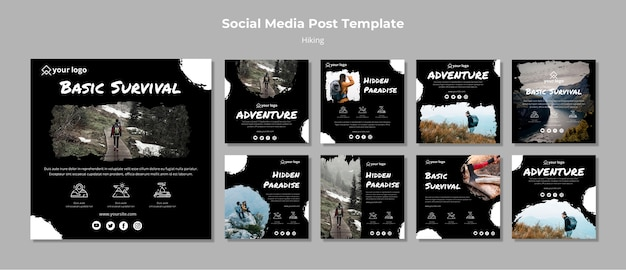 Instagram stories template with hiking