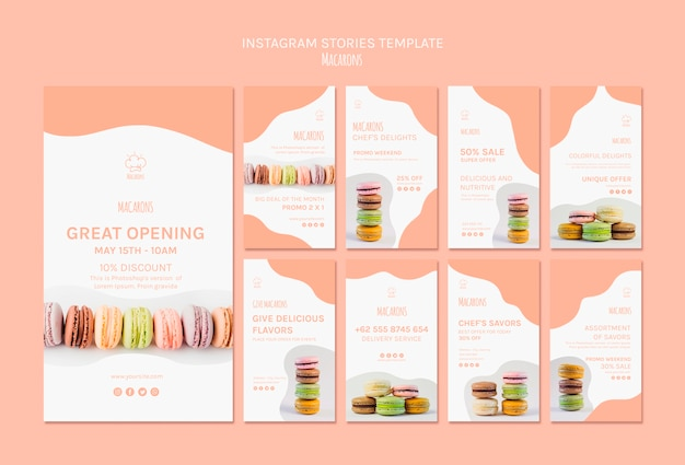 Instagram stories template with macarons
