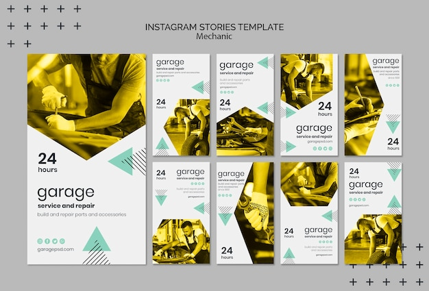 Instagram stories template with mechanic Free Psd