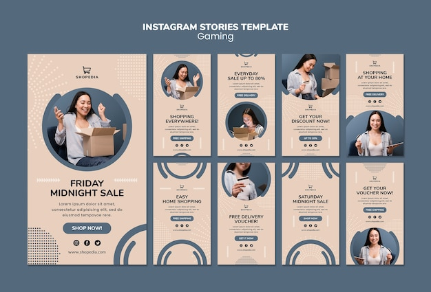 Instagram stories template with online shopping