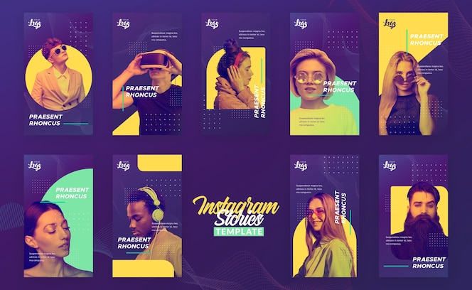 Instagram stories template with people and digital devices