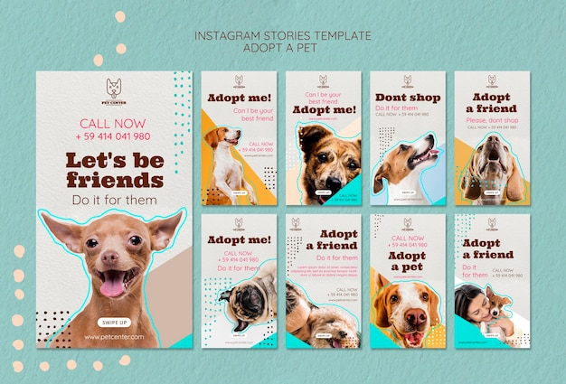 Instagram stories template with pet adoption