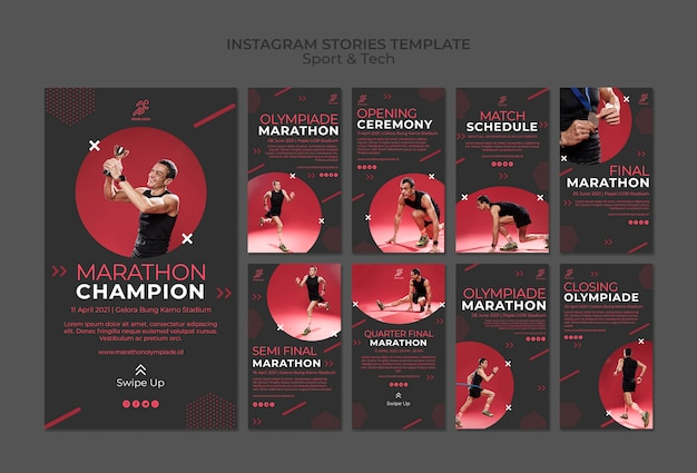 Instagram stories template withsport and tech