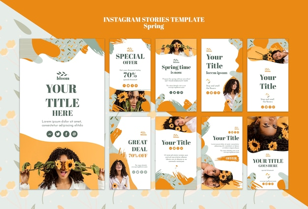 Instagram stories template with spring sale