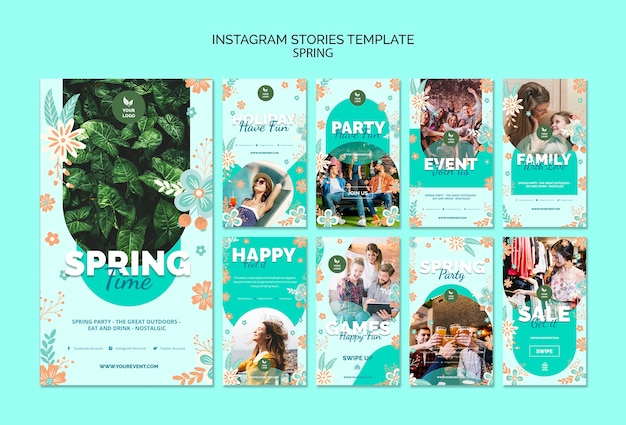 Instagram stories template with spring theme