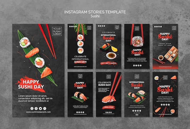 Instagram stories template with sushi day