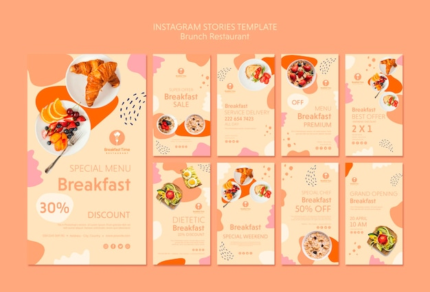 Instagram stories template with tasty food