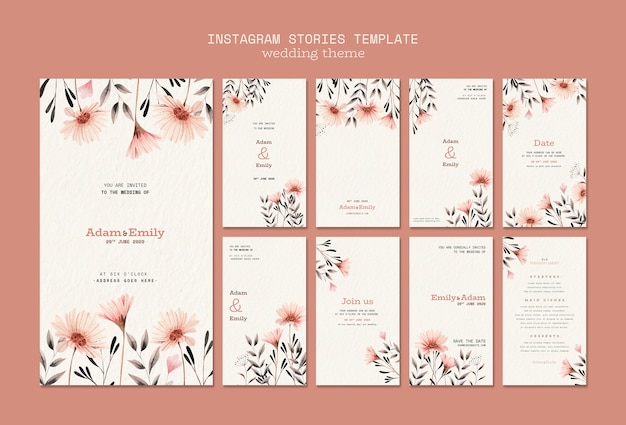 Instagram stories template with wedding concept