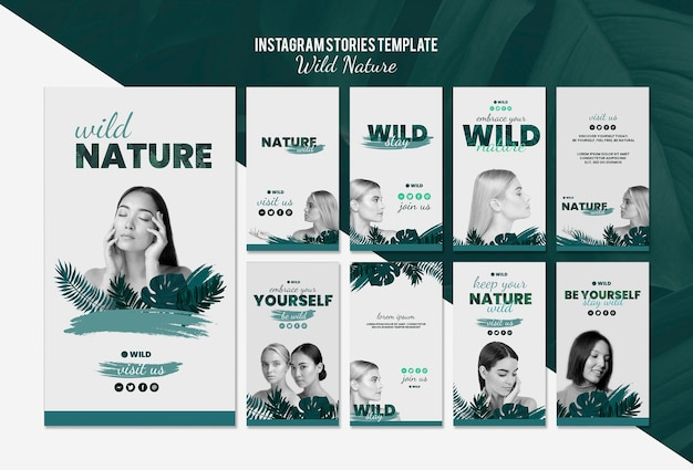 Instagram stories template with wild nature concept