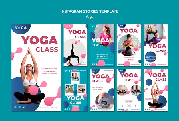 Instagram stories template yoga class