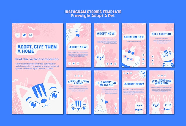 Instagram stories with adopt pet concept