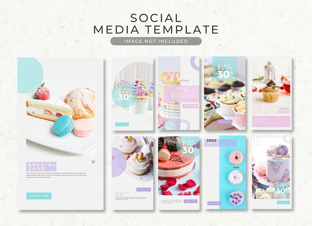 Instagram story dessert and cake template collection