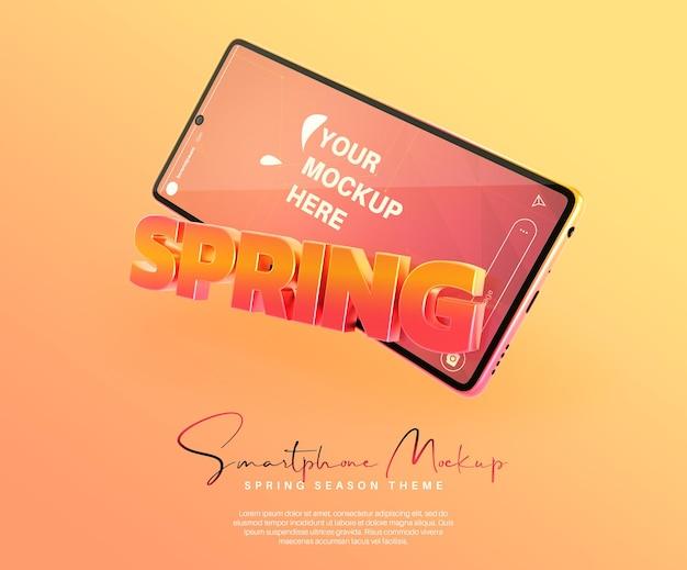 봄 시즌 이벤트를 위해 스마트 폰으로 instagram 스토리 모형
