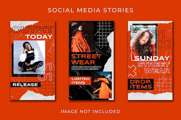 Instagram story orange urban fashion template
