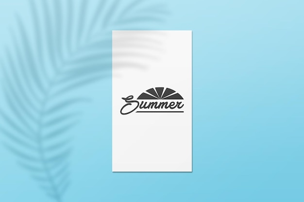 Instagram story summer card mockup with leaves shadow