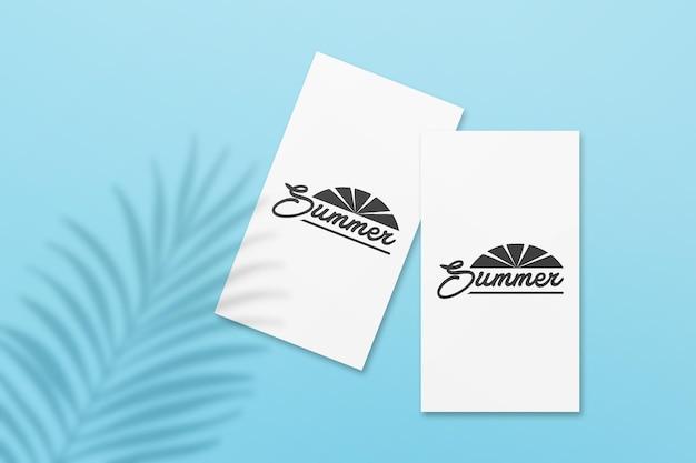 잎 그림자가있는 instagram 이야기 여름 카드 모형