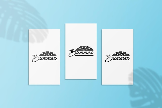 Instagram story summer card mockup with monstera leaves shadow