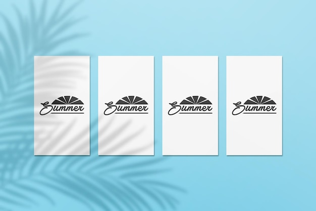 Instagram story summer card mockup with palm leaves shadow on a wall