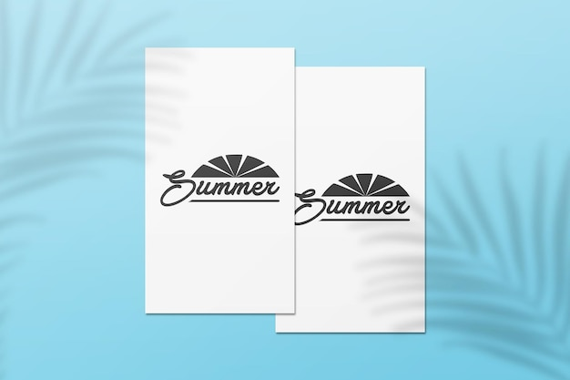 Instagram story summer card mockup with palm leaves shadow Premium Psd