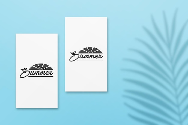 Instagram story summer card mockup with palm leaves shadow