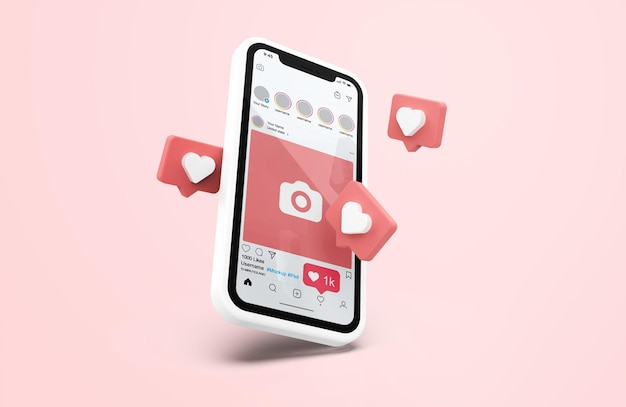 Instagram on white mobile phone mockup with 3d icons