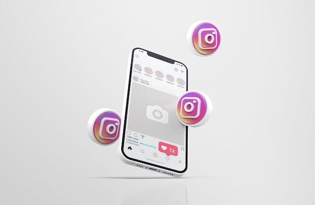 Instagram su bianco mobile phone mockup con icone 3d